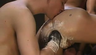 Hot gay boy kisses ass and fists asshole