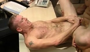 Hairy stud gets deep anal penetration on table