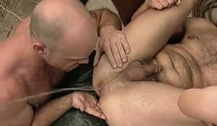 Pervert hairy gay pours golden rain from a asshole