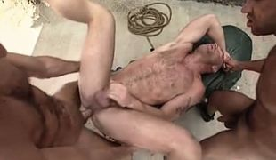 Hairy gays fuck bear hunk in all holes outdoor