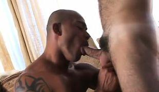 Latin macho throats appetizing cock