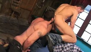 Hairy dilf licks strong males ass