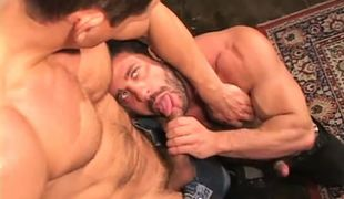 Hairy muscle gays suck on floor
