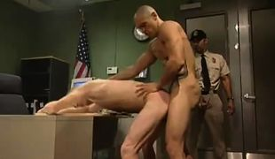 Dirty boss drills poor man in office