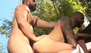 Hairy gay men fuck in doggy style outdoor