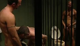 Nasty prisoners greedily suck cocks