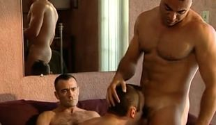 Horny bear gay plays with guys