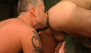 Mature gay licks guys ass in prison cell