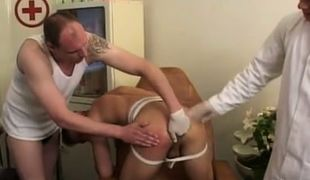 Gay doctor and man fingering tight hole by turns