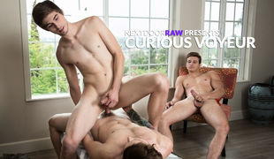 As Chad Piper & Scotty Zee engage in some living room fun, gardener Luis Parker can't help but get an eyeful, and judging by the stiffy growi