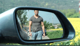 On his way to visit his family for the weekend, our photographer encountered a appealing hitchhiker, Angelo