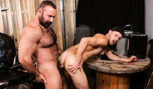 Chandler is Brad's Pup and loves worshiping his big unshaved body