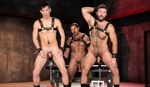 Hairy, muscular Gage Lennox and smooth, small Issac Lin show off their asses to big, beefy Joey D