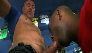 Horny dad sucked by black guy in clothing store