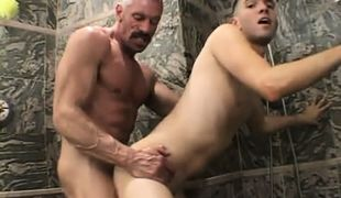 Horny daddy hard fucks boy in doggy style