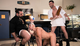 Eli Villain is new at Domination Diner and when he tries to serve pie to some customers he drops it all over the floor in belly of his boss, Jaxton Wh