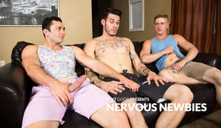 Johnny Riley, Chris Blades & TJ Lee in Nervous Newbies.Tattooed stud TJ Lee is new to all of this, having never been with a guy- much less two!- b