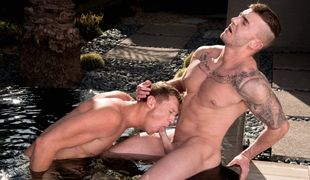 Jake Ashford is relaxing in the hot tub when Go in Paris hops in to join