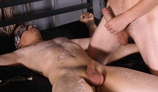 Innocent twink boy Cristian gets wanked and sucked and fed a hot load!