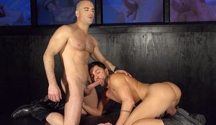 Dominic is taken to a cum splashing climax with the throbbing cock of porn star Adam!