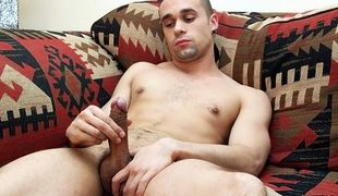 Fit gay guy Chase Reynolds arrives for an interview and his first jerk off