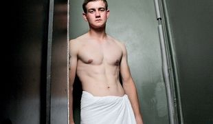 Callum Astor gets his first on-screen cock suck in this glory hole video with Lewis Backwell and hung Jack Hall!
