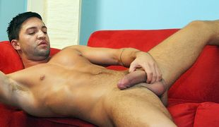 Our own hardcore porn star Dominic strokes the cum from his heavy balls
