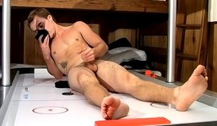 Stunning young straight uncut jock Kelly shows off his feet and that tasty cock