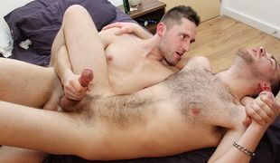 Beefy muscle Dominic and hairy hunk Lincoln go at it in an intense session!