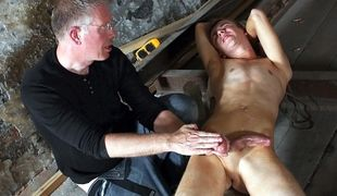 Sexy twink boy Chad Chambers gets wanked and edged to a jizz load by Sebastian Kane