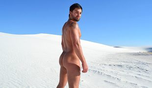 Dominic finds privacy for a jerk off in the expanse of the boiling desert!